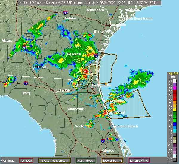 Radar Image for Severe Thunderstorms near Jacksonville, FL at 6/24/2020 6:35 PM EDT