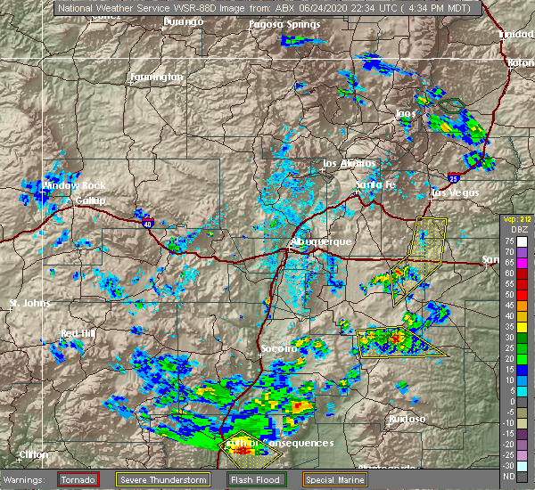 Radar Image for Severe Thunderstorms near Encino, NM at 6/24/2020 4:36 PM MDT