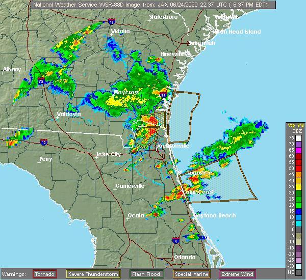 Radar Image for Severe Thunderstorms near Yulee, FL at 6/24/2020 6:42 PM EDT