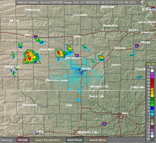 Radar Image for Severe Thunderstorms near Lyons, KS at 6/24/2020 6:17 PM CDT