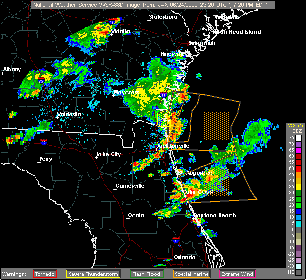Radar Image for Severe Thunderstorms near Bunnell, FL at 6/24/2020 7:23 PM EDT