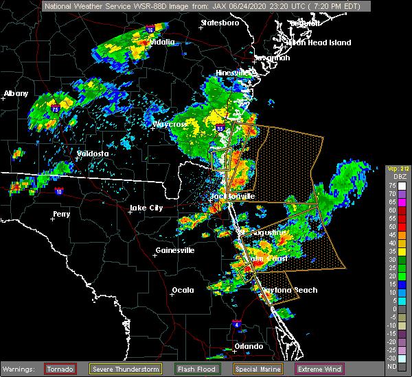 Radar Image for Severe Thunderstorms near Kingsland, GA at 6/24/2020 7:24 PM EDT