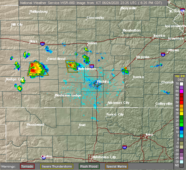 Radar Image for Severe Thunderstorms near South Hutchinson, KS at 6/24/2020 6:31 PM CDT