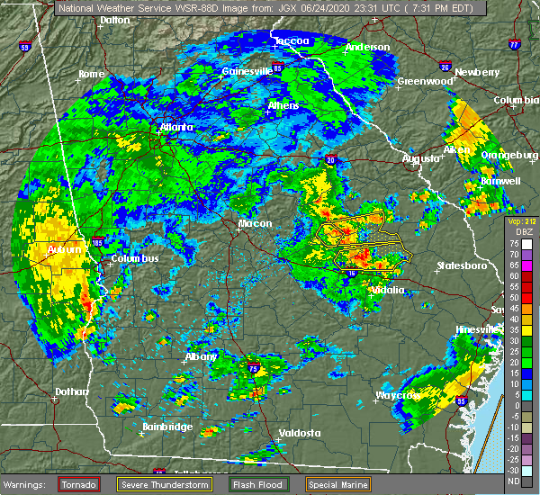 Radar Image for Severe Thunderstorms near Swainsboro, GA at 6/24/2020 7:35 PM EDT