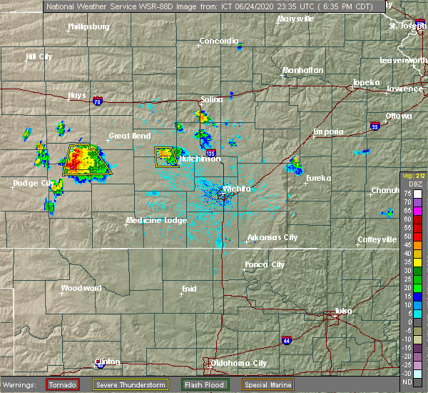 Radar Image for Severe Thunderstorms near South Hutchinson, KS at 6/24/2020 6:40 PM CDT
