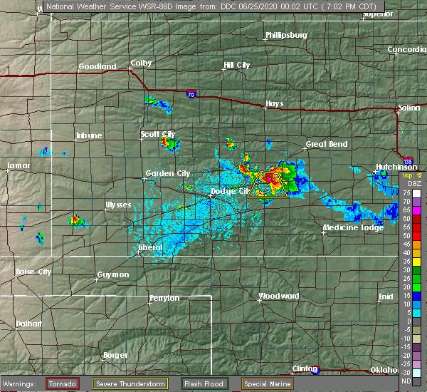 Radar Image for Severe Thunderstorms near Kinsley, KS at 6/24/2020 7:05 PM CDT