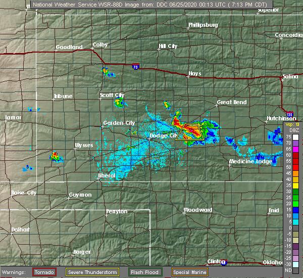 Radar Image for Severe Thunderstorms near Kinsley, KS at 6/24/2020 7:17 PM CDT