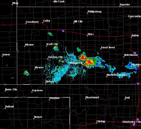 Radar Image for Severe Thunderstorms near Kinsley, KS at 6/24/2020 7:27 PM CDT