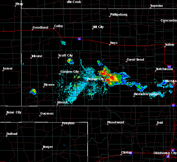 Radar Image for Severe Thunderstorms near Greensburg, KS at 6/24/2020 7:34 PM CDT