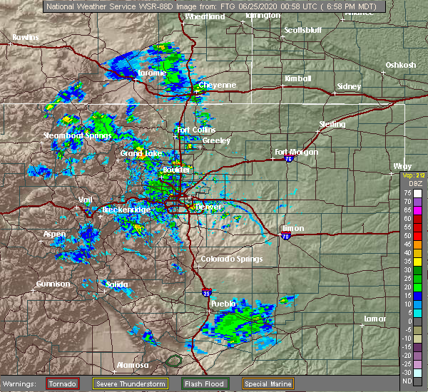 Radar Image for Severe Thunderstorms near Greenwood Village, CO at 6/24/2020 7:01 PM MDT