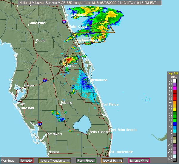 Radar Image for Severe Thunderstorms near Winter Park, FL at 6/24/2020 9:18 PM EDT