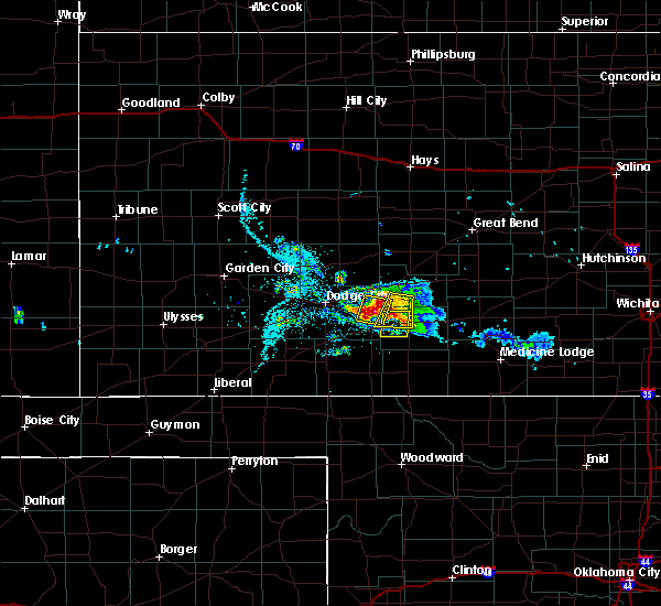 Radar Image for Severe Thunderstorms near Greensburg, KS at 6/24/2020 8:25 PM CDT