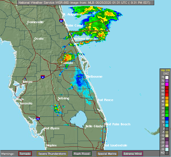 Radar Image for Severe Thunderstorms near Winter Park, FL at 6/24/2020 9:37 PM EDT