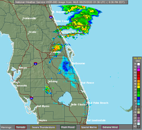 Radar Image for Severe Thunderstorms near Winter Park, FL at 6/24/2020 9:44 PM EDT