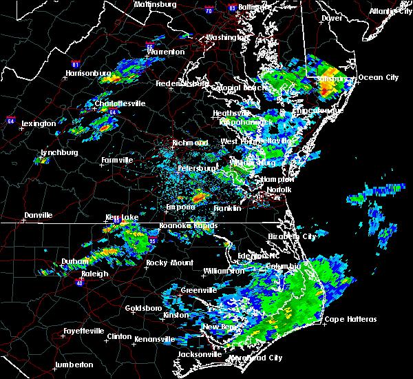 Radar Image for Severe Thunderstorms near Carrsville, VA at 6/25/2020 1:48 PM EDT
