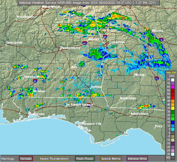 Radar Image for Severe Thunderstorms near Georgiana, AL at 6/25/2020 1:41 PM CDT