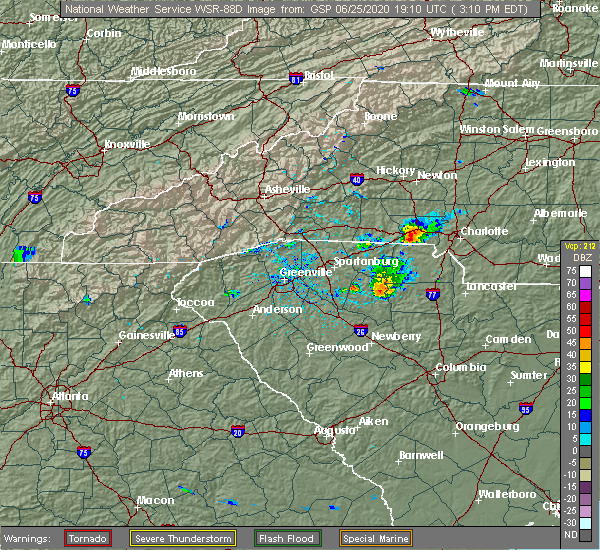 Radar Image for Severe Thunderstorms near Charlotte, NC at 6/25/2020 3:16 PM EDT