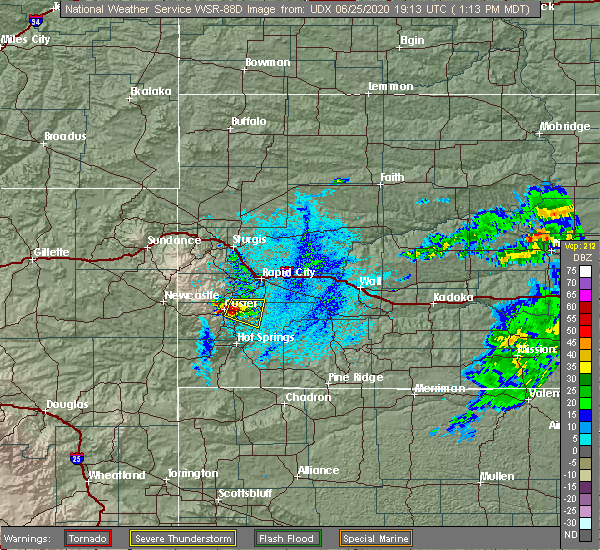Radar Image for Severe Thunderstorms near Custer, SD at 6/25/2020 1:19 PM MDT