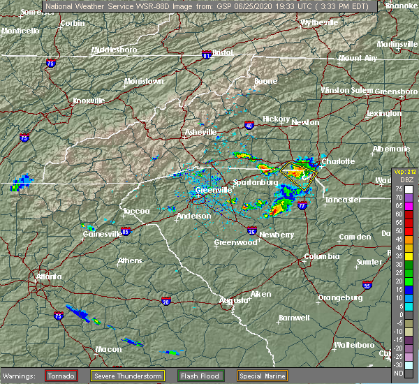 Radar Image for Severe Thunderstorms near Charlotte, NC at 6/25/2020 3:39 PM EDT