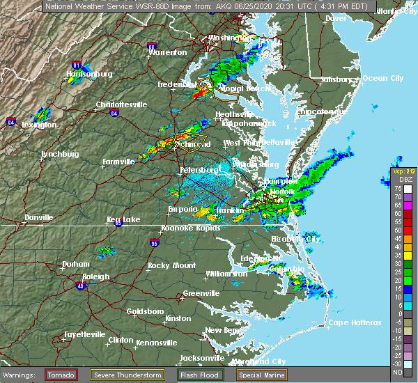 Radar Image for Severe Thunderstorms near Mechanicsville, VA at 6/25/2020 4:40 PM EDT