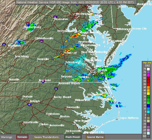 Radar Image for Severe Thunderstorms near Mechanicsville, VA at 6/25/2020 5:03 PM EDT