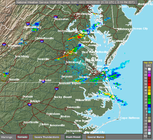 Radar Image for Severe Thunderstorms near Mechanicsville, VA at 6/25/2020 5:26 PM EDT