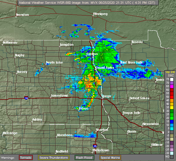 Radar Image for Severe Thunderstorms near Blanchard, ND at 6/25/2020 4:36 PM CDT