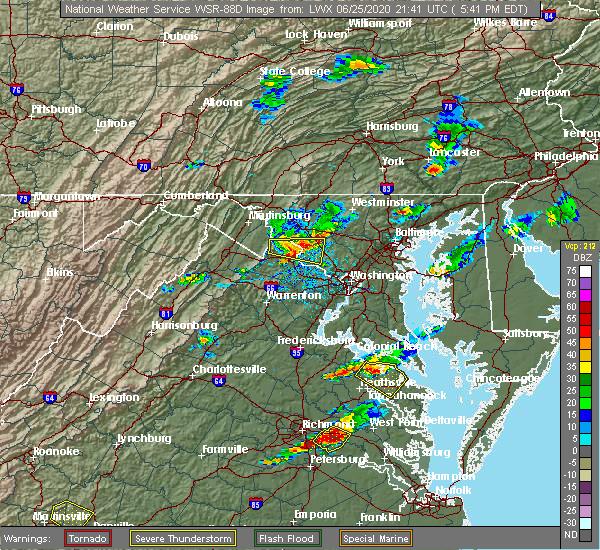 Radar Image for Severe Thunderstorms near Barnesville, MD at 6/25/2020 5:45 PM EDT