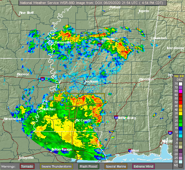 Radar Image for Severe Thunderstorms near Crystal Springs, MS at 6/25/2020 4:57 PM CDT