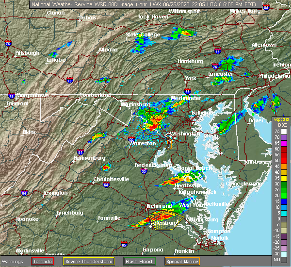 Radar Image for Severe Thunderstorms near Montgomery Village, MD at 6/25/2020 6:11 PM EDT