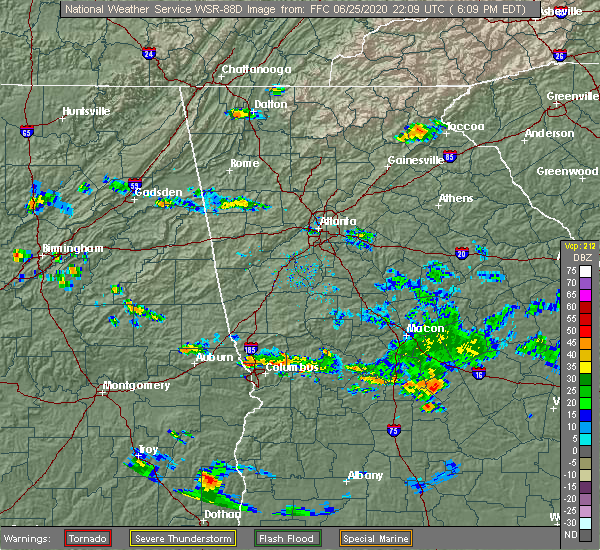 Radar Image for Severe Thunderstorms near Butler, GA at 6/25/2020 6:14 PM EDT