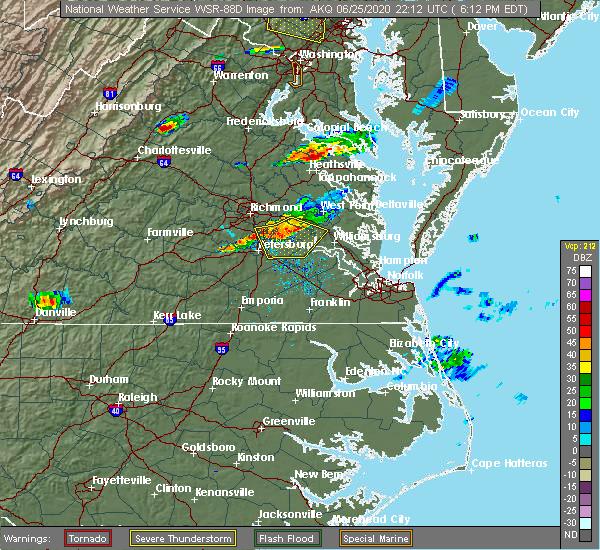 Radar Image for Severe Thunderstorms near Claremont, VA at 6/25/2020 6:15 PM EDT