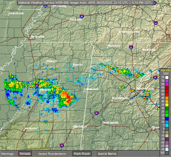 Radar Image for Severe Thunderstorms near Pickensville, AL at 6/25/2020 5:21 PM CDT