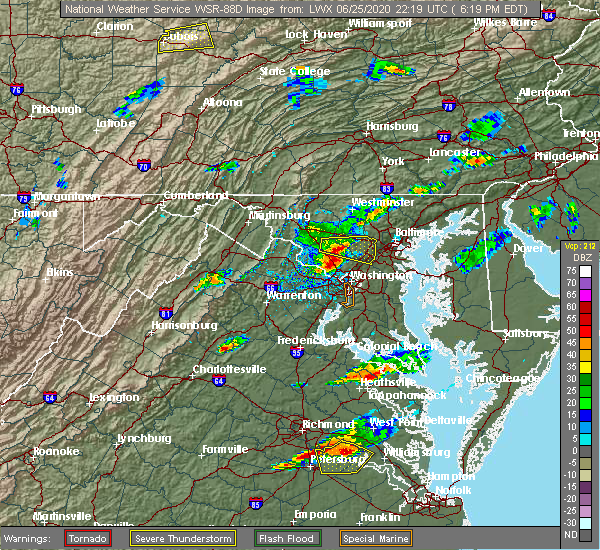 Radar Image for Severe Thunderstorms near Montgomery Village, MD at 6/25/2020 6:23 PM EDT