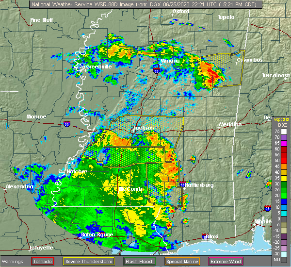 Radar Image for Severe Thunderstorms near Crystal Springs, MS at 6/25/2020 5:26 PM CDT