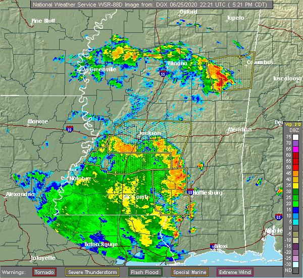 Radar Image for Severe Thunderstorms near Glendale, MS at 6/25/2020 5:26 PM CDT