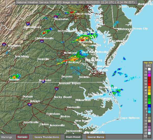 Radar Image for Severe Thunderstorms near Claremont, VA at 6/25/2020 6:31 PM EDT