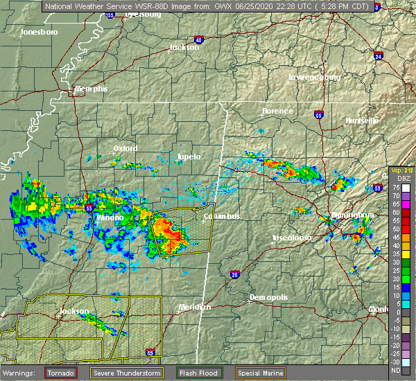 Radar Image for Severe Thunderstorms near Pickensville, AL at 6/25/2020 5:34 PM CDT