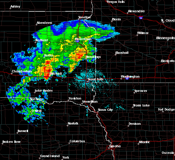 Radar Image for Severe Thunderstorms near Fedora, SD at 6/25/2020 5:45 PM CDT