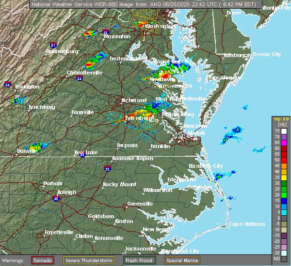 Radar Image for Severe Thunderstorms near Claremont, VA at 6/25/2020 6:47 PM EDT