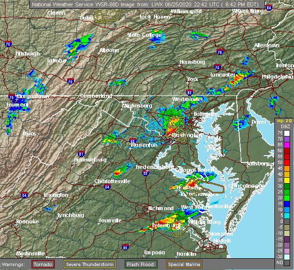 Radar Image for Severe Thunderstorms near Woodlawn, MD at 6/25/2020 6:48 PM EDT