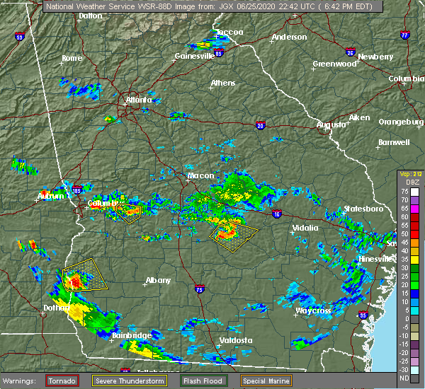 Radar Image for Severe Thunderstorms near Chauncey, GA at 6/25/2020 6:50 PM EDT
