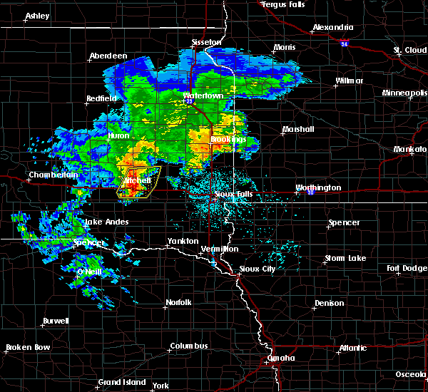 Radar Image for Severe Thunderstorms near Canova, SD at 6/25/2020 5:57 PM CDT