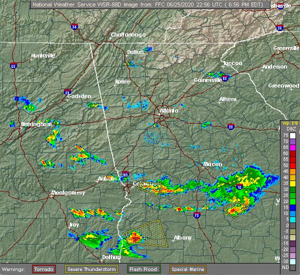 Radar Image for Severe Thunderstorms near Columbus, GA at 6/25/2020 7:03 PM EDT