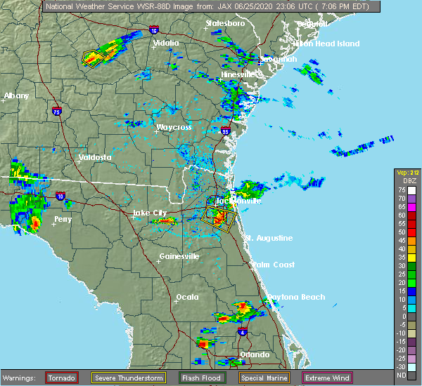 Radar Image for Severe Thunderstorms near Palm Valley, FL at 6/25/2020 7:11 PM EDT