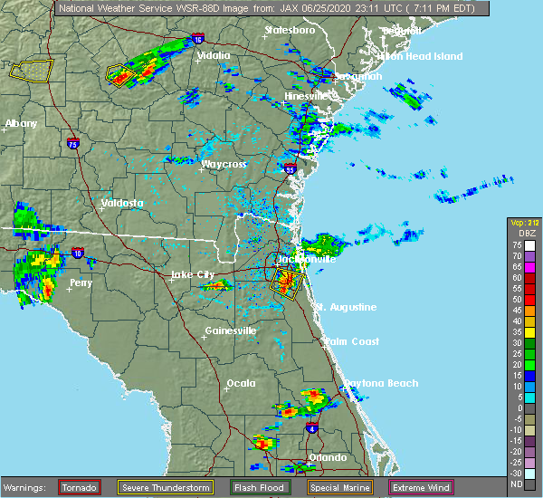 Radar Image for Severe Thunderstorms near World Golf Village, FL at 6/25/2020 7:16 PM EDT