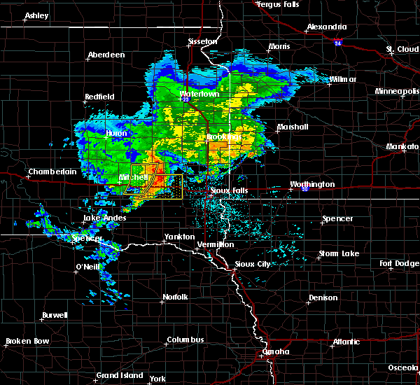 Radar Image for Severe Thunderstorms near Chester, SD at 6/25/2020 6:33 PM CDT