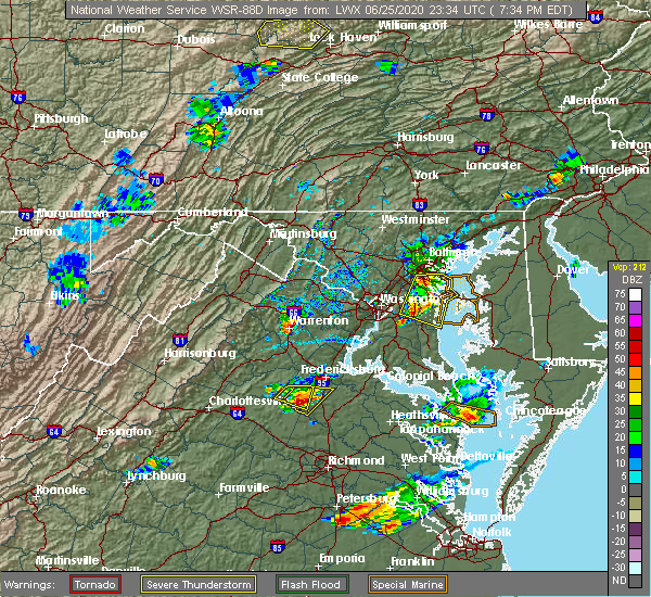 Radar Image for Severe Thunderstorms near Lake Caroline, VA at 6/25/2020 7:39 PM EDT