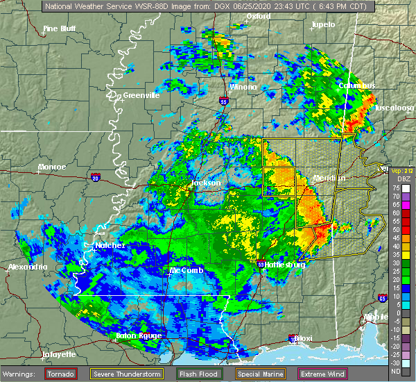 Radar Image for Severe Thunderstorms near Newton, MS at 6/25/2020 6:51 PM CDT