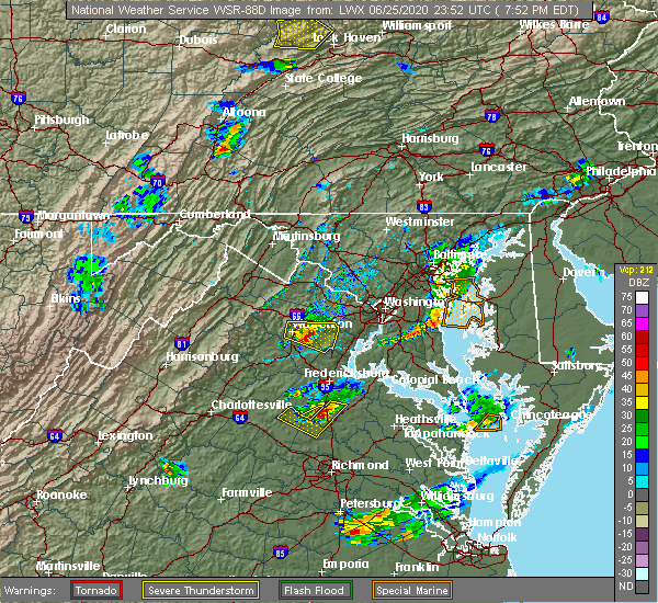 Radar Image for Severe Thunderstorms near Lake Caroline, VA at 6/25/2020 7:56 PM EDT
